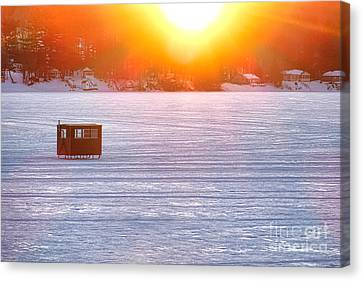 Ice Fishing On China Lake Canvas Print by Olivier Le Queinec
