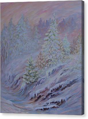 Ice Fog In The Forest Canvas Print by Joanne Smoley