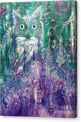 Ice Fox Canvas Print by Julie Engelhardt