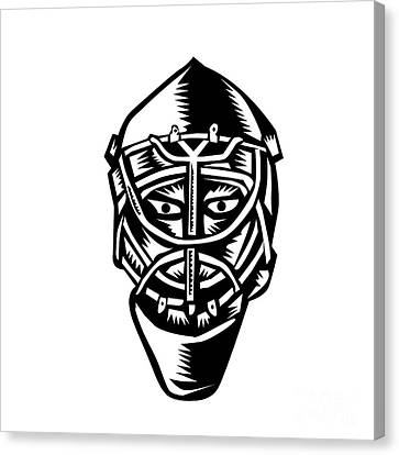 Ice Hockey Goalie Helmet Woodcut Canvas Print by Aloysius Patrimonio