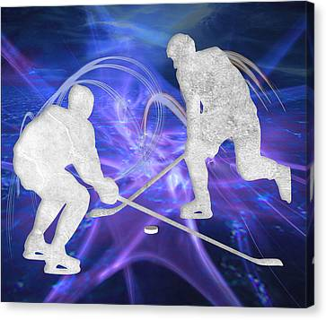 Ice Hockey Players Fighting For The Puck Canvas Print by Elaine Plesser