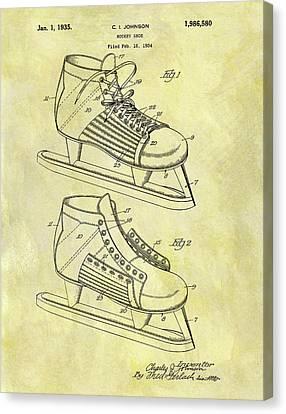 Nhl Hockey Canvas Print - Ice Hockey Skates Patent Image by Dan Sproul