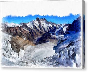 Switzerland Canvas Print - Ice In The Towering Swiss Alps by Ashish Agarwal