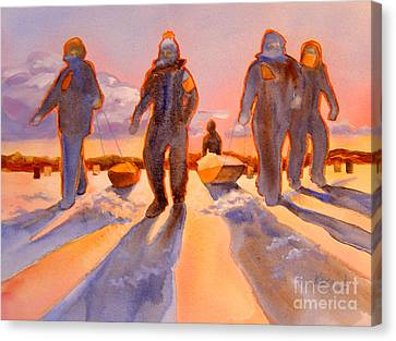 Ice Men Come Home Canvas Print by Kathy Braud