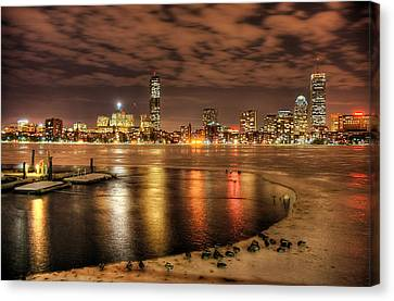 Ice On Charles River Canvas Print by Craig A Stevens