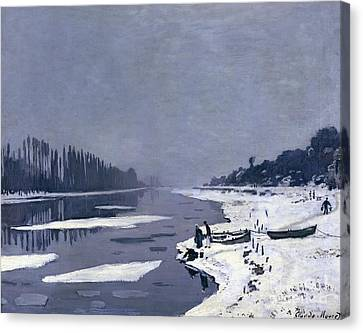Ice On The Seine At Bougival Canvas Print by Claude Monet