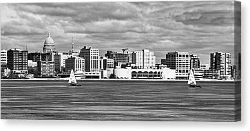 Ice Sailing Bw - Madison - Wisconsin Canvas Print by Steven Ralser