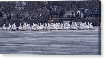 Ice Sailing -  Madison - Wisconsin Canvas Print by Steven Ralser