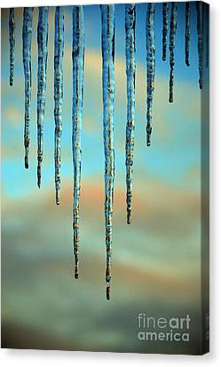 Canvas Print featuring the photograph Ice Sickles - Winter In Switzerland  by Susanne Van Hulst