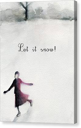 Ice Skater Holiday Card Canvas Print by Beverly Brown Prints