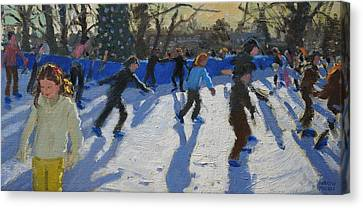 Ice Skaters At Christmas Fayre In Hyde Park  London Canvas Print by Andrew Macara