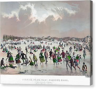 Ice Skating, C1859 Canvas Print by Granger