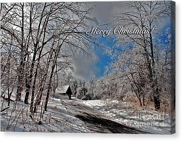 Ice Storm Christmas Card Canvas Print by Lois Bryan
