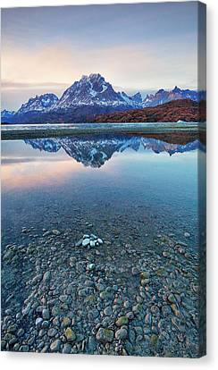 Icebergs And Mountains Of Torres Del Paine National Park Canvas Print by Phyllis Peterson