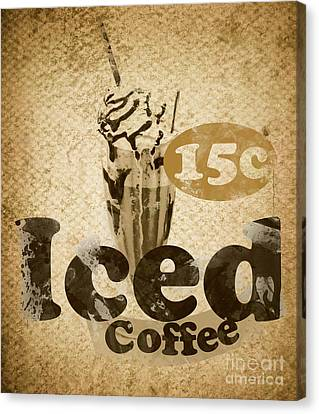 Coffee Shop Canvas Print - Iced Coffee Cafe Tin Sign by Jorgo Photography - Wall Art Gallery