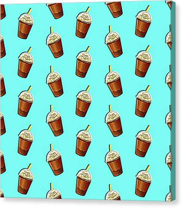 Coffee Shop Canvas Print - Iced Coffee To Go Pattern by Little Bunny Sunshine