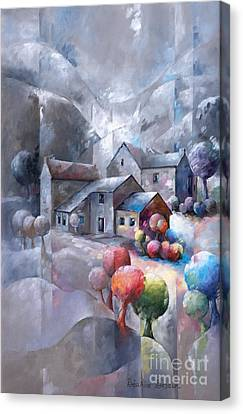 Inspirational. Pointillism Canvas Print - Iced Landscape by Beatrice BEDEUR