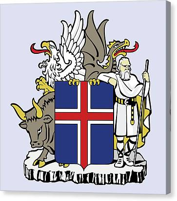 Canvas Print featuring the drawing Iceland Coat Of Arms by Movie Poster Prints