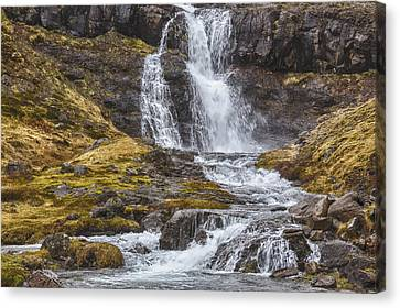 Canvas Print featuring the tapestry - textile Iceland Fjord 2 by Kathy Adams Clark
