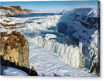 Canvas Print featuring the photograph Iceland Gullfoss Waterfall In Winter With Snow by Matthias Hauser