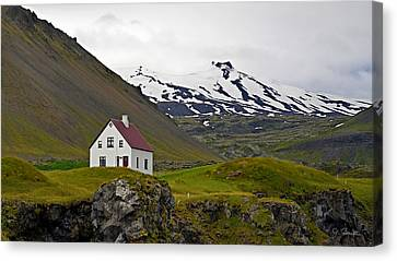 Canvas Print featuring the photograph Iceland House And Glacier by Joe Bonita
