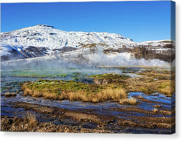 Canvas Print featuring the photograph Iceland Landscape Geothermal Area Haukadalur by Matthias Hauser