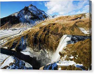 Canvas Print featuring the photograph Iceland Landscape With Skogafoss Waterfall by Matthias Hauser