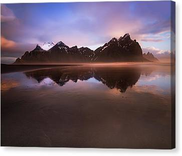 Iceland Sunset Reflections Canvas Print by Larry Marshall