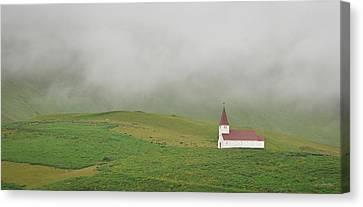Canvas Print featuring the photograph Icelandic Chapel by Joe Bonita