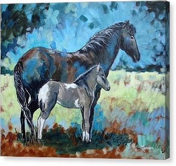 Icelandic Mare And Her Foal Canvas Print by Cathy MONNIER