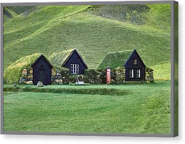 Icelandic Turf Homes Canvas Print by Mario Carini