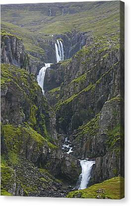 Canvas Print featuring the photograph Icelandic Waterfall by Elvira Butler