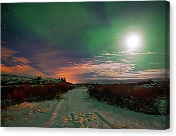 Canvas Print featuring the photograph Iceland's Landscape At Night by Dubi Roman