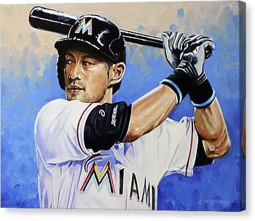 Baseball Canvas Print - Ichiro by Rick McKinney