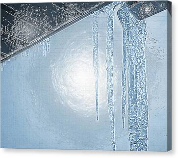 Icicles 1 - Hanging From The Eaves Canvas Print by Steve Ohlsen