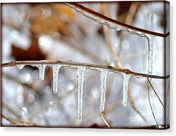 Icicles And Bokeh Canvas Print by Deb Badt-Covell