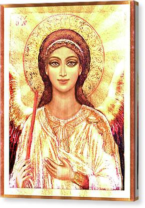 Michael Canvas Print - Icon Angel In A White Halo by Ananda Vdovic