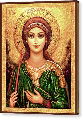 Christian Sacred Canvas Print - Icon Angel In Green by Ananda Vdovic