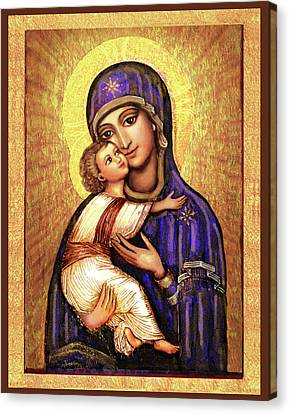 Madonna And Child Canvas Print - Icon Madonna by Ananda Vdovic