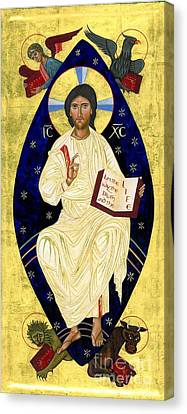 Icon Of Christ In Glory Canvas Print by Juliet Venter