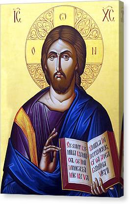 Icon Of Christ In Jericho Canvas Print by Munir Alawi