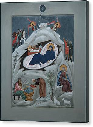 Icon Of The Nativity Of Christ Canvas Print by Philip Davydov