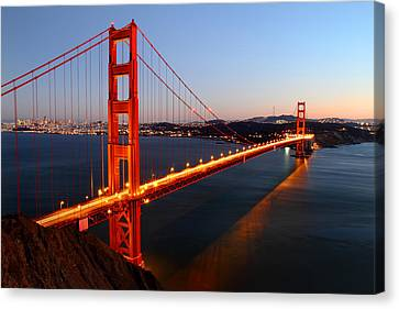 Reflection Canvas Print - Iconic Golden Gate Bridge In San Francisco by Pierre Leclerc Photography