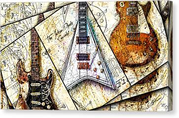 Iconic Guitars Panel 1 Canvas Print by Gary Bodnar