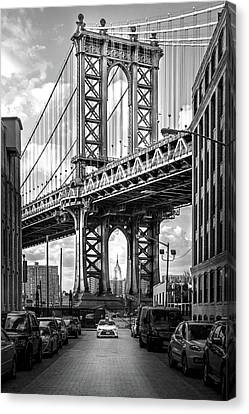 Yellow Building Canvas Print - Iconic Manhattan Bw by Az Jackson
