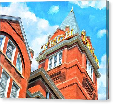 Canvas Print featuring the painting Iconic Tech Tower - Georgia Tech Campus by Mark Tisdale