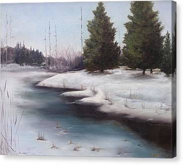 Canvas Print featuring the painting Icy Blue by Diane Daigle