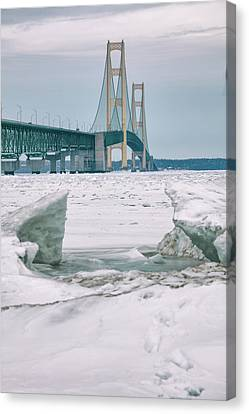 Canvas Print featuring the photograph Icy Day Mackinac Bridge  by John McGraw