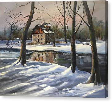 Grist Canvas Print - Icy Illick's Mill by Diane Hutchinson