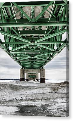 Canvas Print featuring the photograph Icy Mackinac Bridge In Winter by John McGraw